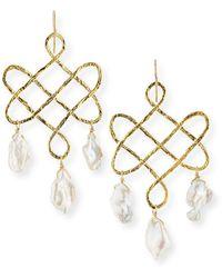 Devon Leigh Baroque Pearl Trellis Drop Earrings - Metallic