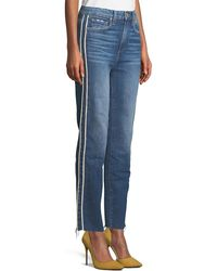 PAIGE Hoxton Straight-leg Raw-edge Jeans W/ Piping - Blue