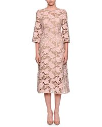 Dolce & Gabbana - Elbow-sleeve Macrame Lace Dress - Lyst