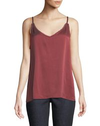Eileen Fisher - Lace-trim Silk Charmeuse Cami Top - Lyst