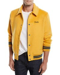 Ovadia And Sons - Men's Snap-front Melton Wool Varsity Jacket W/ Logo Embroidery - Lyst