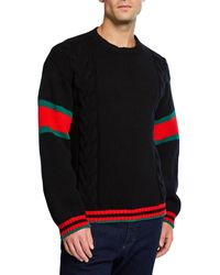Gucci Men's Sweater With Striped Sleeves - Black