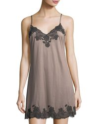 Josie Natori - Charlize Lace-trimmed Chemise - Lyst