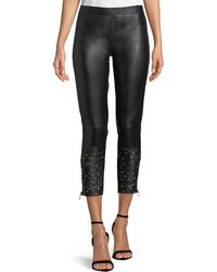 Boutique Moschino - Embellished-cuff Leather Leggings - Lyst
