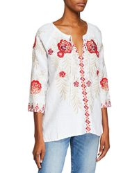 b93fbcc334f Johnny Was - Maya Embroidered Linen Tie-neck Peasant Blouse - Lyst