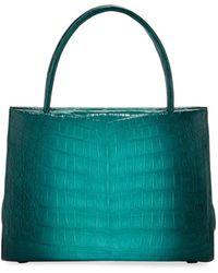 Nancy Gonzalez Wallis Mini Ombre Crocodile Top Handle Bag - Green