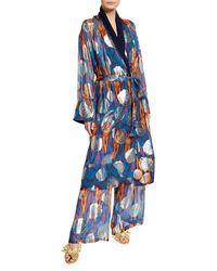 Figue Kali Ikat Metallic Kimono Robe - Blue