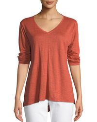 Eileen Fisher - Organic Linen Jersey V-neck Top - Lyst