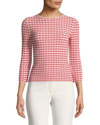 Emporio Armani - Bracelet-sleeve Patterned Jersey Knit Top - Lyst