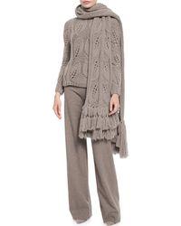 Lela Rose - Oversized Leaf-knit Scarf W/fringe - Lyst
