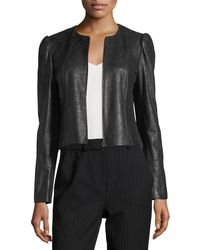 Rebecca Taylor - Crackle Zip-front Pebble Leather Jacket - Lyst