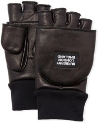 Burberry Men's 3-in-1 Lamb Leather Gloves - Black