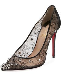Christian Louboutin - Decollete 554 Spiked Lace Red Sole Pumps - Lyst