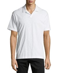 Theory Willem Cosmos Open-collar Jersey Polo Shirt - White