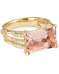 David Yurman Tides 18k Gold Diamond & Morganite Ring, Size 8 - Metallic