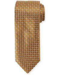 Canali Lattice Box Silk Tie Gold Yellow