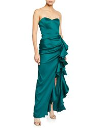 909b56b90e0e Badgley Mischka Woman Ruffled Pleated Duchesse-satin Gown Burgundy Size 2 -  Lyst