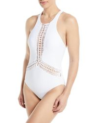 6e79e9c64c105 Red Carter - Splice   Dice High-neck Macrame Maillot One-piece Swimsuit -