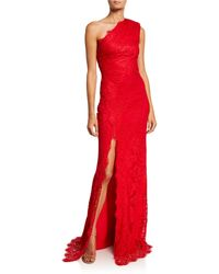 Monique Lhuillier Chantilly Lace One-shoulder Gown - Red