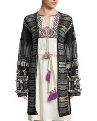 Figue Talaya Open-front Intarsia Wool Cardigan W/ Fringe & Tassel Trim - Black