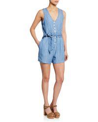 Rails Scarlett Button-front Sleeveless Romper - Blue