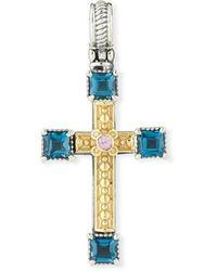 Konstantino 18k Topaz & Sapphire Cross Charm - Metallic