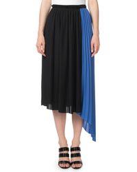 35e10c6a28 KENZO - Pleated Asymmetrical Colorblock Midi Skirt - Lyst