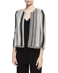 Misook Collection - Striped Open-front Tasseled Jacket - Lyst