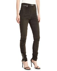 3.1 Phillip Lim - High-waist Stretch-suede Leggings With Ankle-zip - Lyst