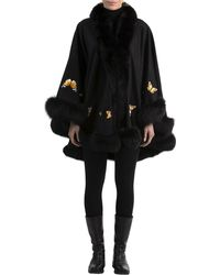 Gorski - Butterfly-embroidered Cashmere Cape With Fox Fur Trim - Lyst