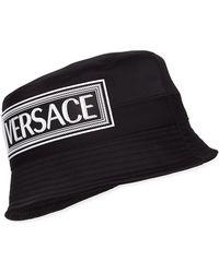 Versace Satin Bucket Hat W/ Rubber Logo Patch - Black