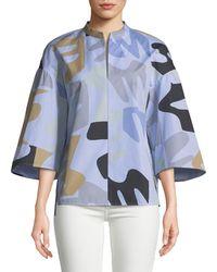 Lafayette 148 New York Carla Urban Ethos On Stripe Shirting Blouse - Blue