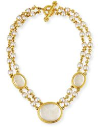 Elizabeth Locke Moth And Butterfly Pearl Necklace - Multicolour