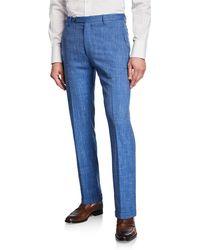 Zanella Men's Slub Weave Dress Pants - Blue