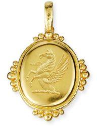 Elizabeth Locke 19k Gold Pegasus Oval Pendant - Metallic