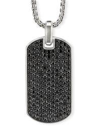 David Yurman Men's Pave Tag W/ Black Diamonds