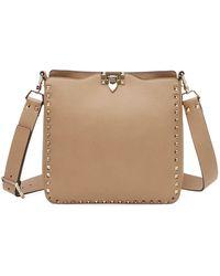 Valentino - Rockstud Small Vitello Leather Hobo Bag - Lyst