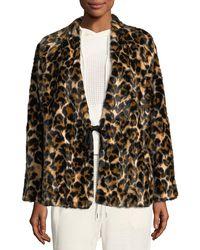 McQ - Short Faux-fur Leopard-print Coat - Lyst