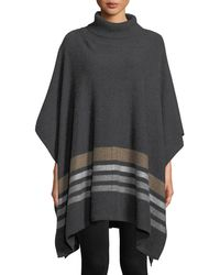 Neiman Marcus - Cashmere Jacquard Metallic-stripe Poncho - Lyst
