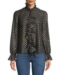 Bardot - Penelope Metallic Dot-print Ruffle Long-sleeve Top - Lyst