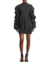 Awake - Tendrils & Head Ruched-sleeves Poplin Dress - Lyst