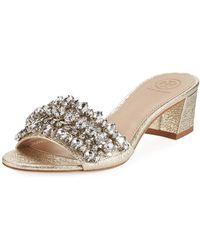 Tory Burch - Beverly Metallic Embellished Slide Sandal - Lyst