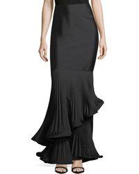 Teri Jon - Taffeta Long Skirt W/ Pleated Ruffle Trim - Lyst