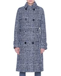 Akris Punto Lacquered Wool Check Trench Coat - Blue