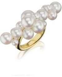 Assael 18k Linear Pearl Bubble Ring - Metallic