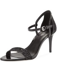 MICHAEL Michael Kors - Simone Glitter & Faux-patent Mid-heel Sandals - Lyst
