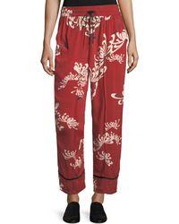 McQ Drawstring Wide-leg Printed Silk Pajama Pants - Red