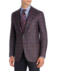 Isaia - Plaid Wool-silk-linen Two-button Sport Coat - Lyst