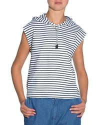Eleventy | Striped Sleeveless Jersey Top W/ Hood | Lyst