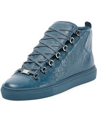 Balenciaga - Men's Arena Leather Mid-top Sneakers - Lyst